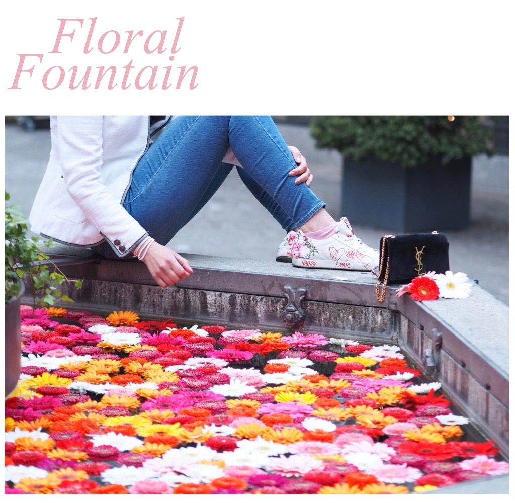 Blumen Brunen und tolle Sneaker in der Zürcher Altstadt.