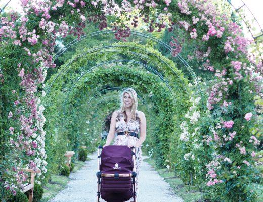 Bloggerin Julie en Rose und der moderne Kombi-Kinderwagen Julie en Rose vor traumhafter Rosenkulisse.